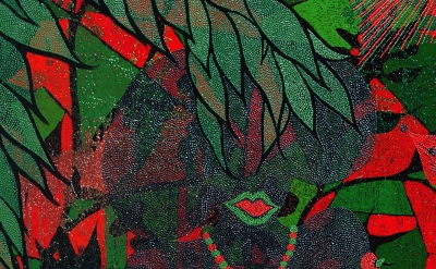 (detail) Chris Ofili, Afronirvana, 2002 (Courtesy the artist, David Zwirner, New