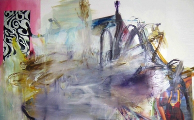 (detail) Albert Oehlen, FM 38, 2011, oil and paper on canvas, 86 by 74 13 inches