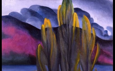 (detail) Georgia O'Keeffe, Lake George with White Birch, 1921, oil on canvas, Pr