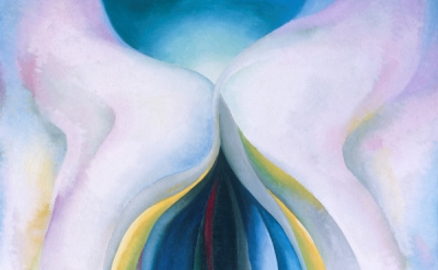 Georgia O'Keeffe, Grey Lines with Black, Blue and Yellow, 1923, oil on canvas. 48 × 30 inches (Museum of Fine Arts, Houston, © Georgia O'Keeffe Museum / Artists Rights Society (ARS), New York)