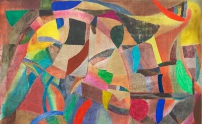 (detail) Scott Olson, Untitled, 2013, oil, wax, marble dust, cherry frame, 24.5
