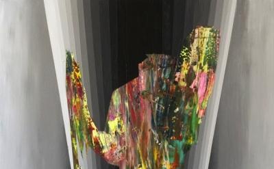 (detail)  Jennifer Omaitz, Walking on the Moon, 2012, acrylic on canvas over pan