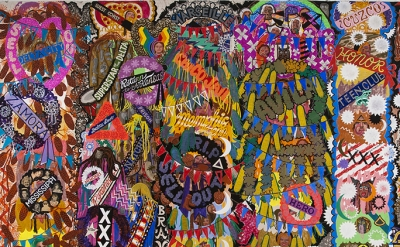 (detail) Alex O'Neal, Shrine for Ice Cream Royalty, 2012, acrylic and collage on canvas, 84 X 132 inches  (courtesy of  Linda Warren Projects)