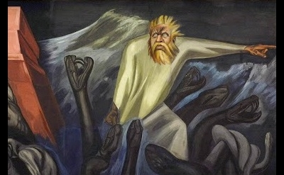 (detail) José Clemente Orozco, Departure of Quetzalcoa, The Epic of American Civ