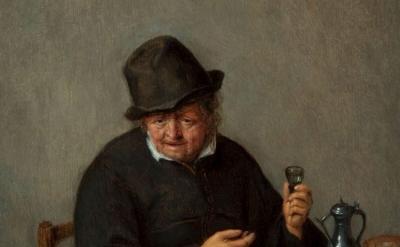(detail) Adriaen van Ostade, An Old Toper, about 1660–65, oil on panel (Taft Museum of Art)