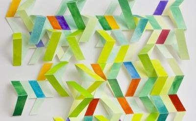 Alex Paik, V (Greens), gouache, colored pencil, paper 26 x 16 x 3 inches, 2014 (