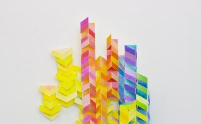Alex Paik, V 1, gouache, colored pencil, paper, 14 x 10 x 3 inches, 2013 (courte