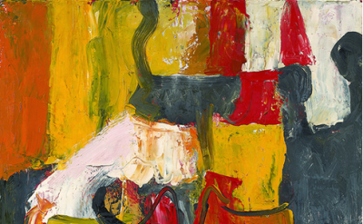 (detail) Charlotte Park. Untitled (red, yellow,orange, and black), 1950's (court