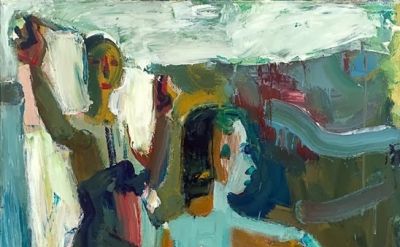 (detail) David Park, Two Bathers, 1958, oil on canvas, 58 x 50 inches (San Franc