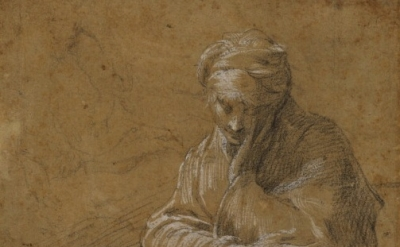 (detail) Parmigianino, (1503–40) Woman Seated on the Ground, c. 1523–24, Black c