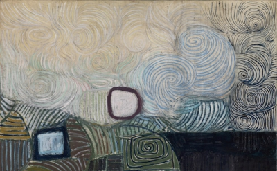 Victor Pasmore, Spiral Motif in Green, Violet, Blue and Gold: the Coast of the Inland Sea, 1950 (© Tate London 2016)