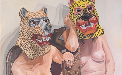 Philip Pearlstein, Two Models in Masks with African Chair, 2015, oil on canvas,