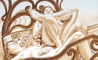 (detail) Philip Pearlstein, Two Female Models on Cast Iron Bed, 1975 (courtesy o