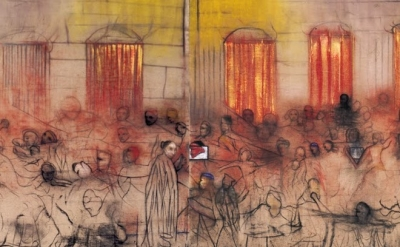 (detail) Irving Petlin, Hebron, 1998-2001, chalk and oil on unprimed Belgian lin