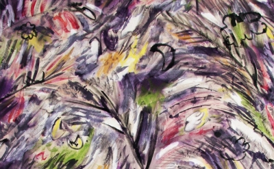 (detail) Meghan Petras, Tahiti, 2012, fabric paint on canvas, cut and sewn, 38 x