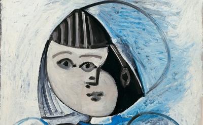 (detail) Pablo Picasso, Paloma et sa poupée, December 13, 1952, Oil on plywood,