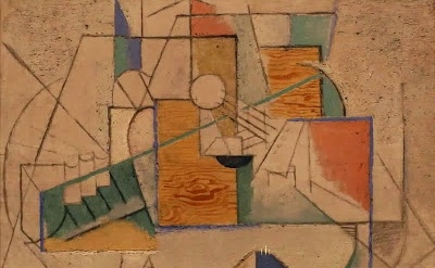 Pablo Picasso, Guitar on a Table, 1912; oil, sand, and charcoal on canvas, Hood