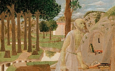 (Detail) Piero della Francesca, Saint Jerome in the Wilderness, 1450 (Gemäldegal