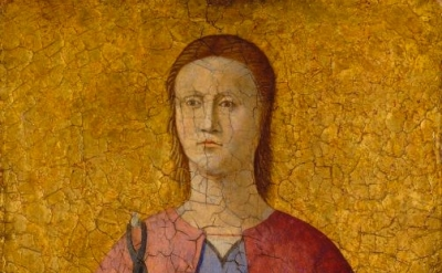 (detail) Piero della Francesca, Saint Apollonia 1454–69 (National Gallery of Art