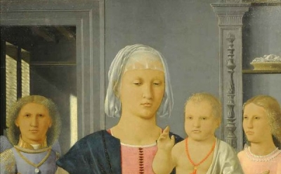 (detail) Piero della Francesca, Madonna and Child with Two Angels (Galleria Nazi