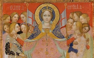 (detail) Niccolo di Pietro, Saint Ursula and Her Maidens, c. 1410, tempera and g