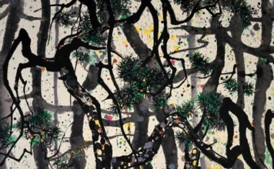 (detail) Wu Guanzhong, Pines, 1995, Ink and color on rice paper, 140 X 179 cm (