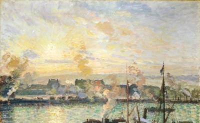Camille Pissarro, Quai de la Bourse, Rouen, soleil couchantQuai de la Bourse, Rouen, soleil couchant, 1898 (National Museum Wales, Cardiff)