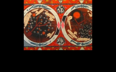 (detail) Lari Pittman, Flying Carpet With Petri Dishes for a Disturbed Nation, 2