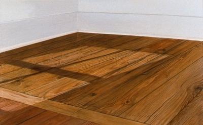 Sylva Plimack-Mangold, Floor with Light at 10:30 am, 1972, acrylic on canvas, 52