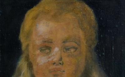 (detail) Jochen Plogsties, 19_11 (Kopf eines Jungen mit langem Bart) 90 x 55cm,