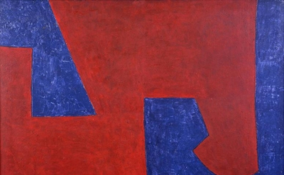 Serge Poliakoff, Bleu Rouge, 1951, oil on canvas, 35 1/8 x 45 5/8 inches (courte