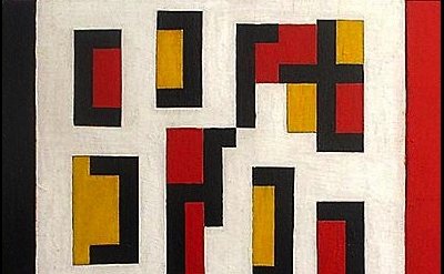 (detail) Leon Polk Smith, Composition Red, Yellow Black, 1948, oil on wood panel