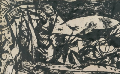(detail) Jackson Pollock, Number 14, 1951, oil paint on canvas (© The Pollock-Kr
