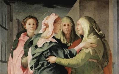 (detail) Jacopo Pontormo, Visitation, 1528-29, oil on wood, 20.2 x 15.6 cm, Chur
