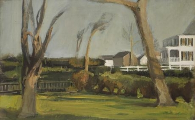Fairfield Porter, Southampton Backyards, 1954, oil on canvas, 24 3/4 x 33 1/4 inches (courtesy of Tibor de Nagy Gallery)