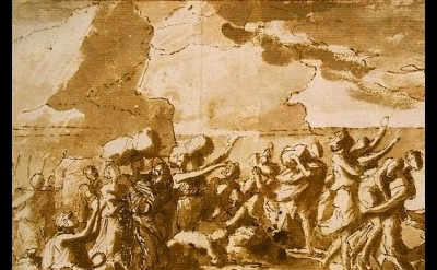 (detail) Nicolas Poussin, Crossing the Red Sea, 1647, pen and brush, brown wash