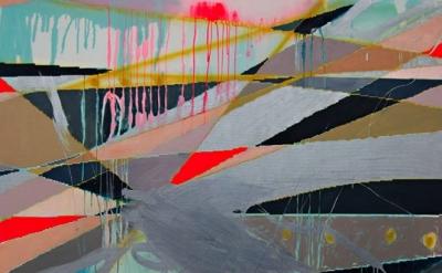 (detail) Clare Price, See the Sunlight, 153 x 178cm, oil, acrylic gouache, spray