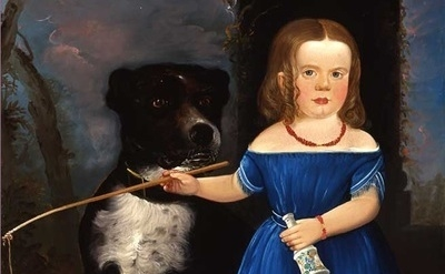 (detail) William Matthew Prior, Child in Blue with Dog, 1848 ((Fenimore Art Muse
