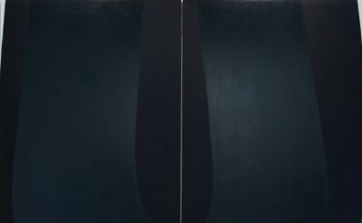 (detail) Nathlie Provosty, Doubleu (Dark), 2013, oil on linen in two parts, 84 x