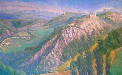 Langdon Quin, Ridge at San Faustino oil on canvas, 48 x 60 inches, 2011  (courte