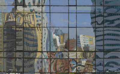 Richard Raiselis, Dewey Square, 2012, oil on linen, 16 × 16 inches (courtesy of Gallery Naga)