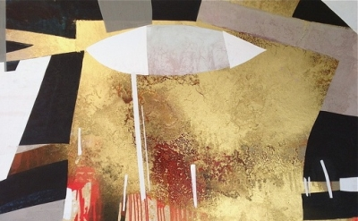 (detail) Erika Ranee, Geezer, 2013 acrylic, shellac and gold pigment on canvas.