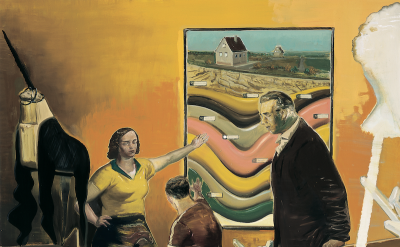 (detail) Neo Rauch, Hausmeister (courtesy of David Zwirner Gallery)