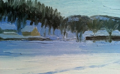 Eleanor Ray, Woodstock Snow, 2012, oil on panel, 5 3/8 x 6 7/8 inches (courtesy