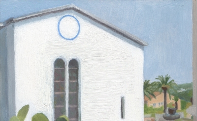 Eleanor Ray, Matisse Chapel, Vence 2015, oil on panel, 6 1/4 x 7 1/2 inches (cou