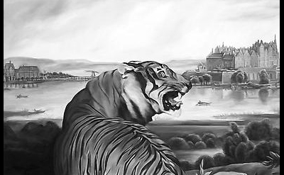 (detail) Shelley Reed, Tiger (after Landseer and Thiele), 2007, oil on canvas 72