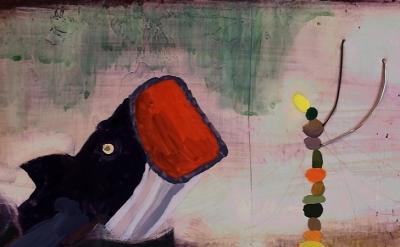 (detail) Jennifer Wynne Reeves, Jonah, 2012, medium: gouache, pencil, wire on ha