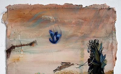 Jennifer Wynne Reeves, Fire, Fall, Flight, Forward, 2012, gouache, pencil, wire