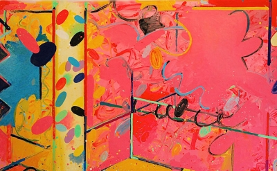 (detail) Peter Reginato, Pink, 2014, enamel on canvas, 48 x 72 inches  (courtesy