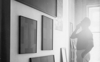 (detail) Ad Reinhardt in his studio (courtesy the Ad Reinhardt Foundation)